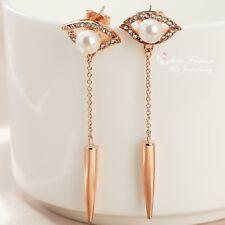 18K Rose Gold Plated Simulated Pearl & Diamond Stylish Eye Punk Drop Earrings