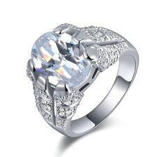 Men's Halo Taille 11 Crampon Blanc Sapphire 18K Gold Filled Anniversaire Anneau Mariage