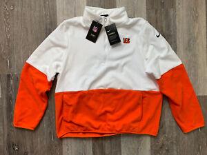 Women's Nike Cincinnati Bengals Fleece 1/2 Zip Therma Fit Pullover Large $70