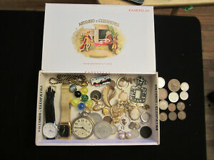 junk drawer box sterling jewelry lot old marbles old USA coin watches ring pins