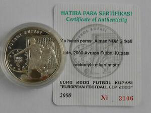 Turkey 7500000 lira 2000 Footbfll EURO 2000 Silver 1oz  proof COA
