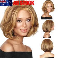 Women Make Up Light Brown Short Ladies Curly Wavy Full Hair Wigs Cosplay Costume