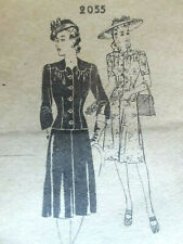 Rare~1940s~The News Pattern #2055 Skirt Jacket Suit ~Vintage Sewing~Uncut