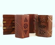 Hand Carved Wood Pen Pot Desk Tidy Bulk Buy x 12 Pen Pots Mixed Lot