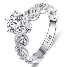 925 Silber Strass Verlobungsring Gr. 53 55 58 60 Trauring Kristall Hochzeit