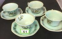Vintage Adams Ming Jade Set Of 4 Teacups With Saucer