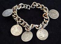 Silver plate vintage Victorian antique Napoleon commemorate charm bracelet