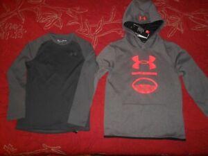 Under Armour Boy's Coldgear Hoodie & Long Sleeve Shirt Size 10/12