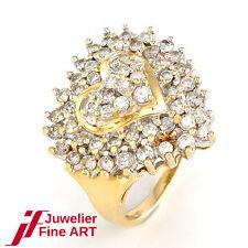RING 14K/585 Gelbgold/Weißgold - Brillant-Herz ca. 1,7 ct W/P - 4,5 g - Gr. 51