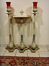 catholic lestern or mass card holder with crucifix and huge candle holders 46546