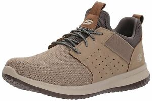 Skechers Mens camben Fabric Low Top Lace Up Fashion Sneakers, Taupe, Size 13.0 E