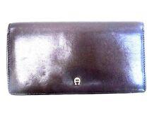 Vintage Etienne Aigner Dark Burgundy Leather Bi-Fold Wallet with Check Divider