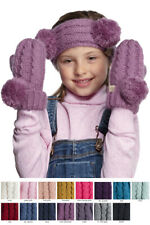 ScarvesMe C.C 3-9 years Children Girl Boy Kids Fuzzy Lining Knit Solid Gloves