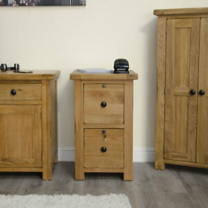 Rustic solid oak home office furniture two drawer lockable filing cabinet
