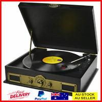 Vintage Turntable Retro Vinyl Record Player USB Bluetooth LP AM FM Radio Speaker
