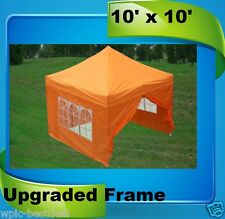 10'x10' Pop Up Canopy Party Tent EZ - Orange - F Model Upgraded Frame