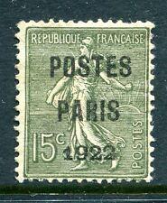 préoblitéré semeuse Postes Paris 1922 N°31 charnière enlevée gomme étalée c1300€