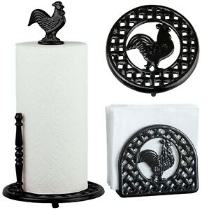 Cast Iron Paper Towel & Napkin Holders Rooster Black, Red Trivet 1 PC & Bundles