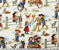 Lil Cowgirl Michael Miller Cotton Fabric Quilting Sheeting Western Ranch