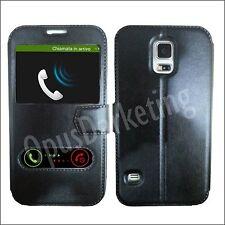 Custodia Flip Cover doppia Finestra Stand NEWTOP per Samsung Galaxy Core 2 G355 Nero
