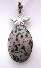 925 Sterling Silver Pendant With Natural Dalmatian Jasper Cabochon  (nk1618)