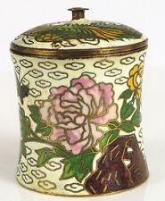 "Vintage Cloisonne Jar With Ornate Rooster Chicken Floral Details 1.75"" Tall !"