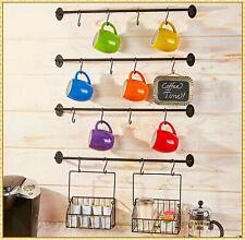 Coffee Mug Rack K-Cup Basket Holder Organizer Hooks Wall Mount Kitchen Storage
