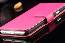 Luxury Genuine Leather Stand Flip Wallet Case For iPhone 6 Or 6S . HOT PINK COL