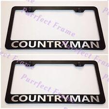 2X Mini Cooper COUNTRYMAN Black Stainless Steel License Plate Frame  W/Cap
