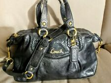 COACH BLACK ASHLEY 19247 PYTHON SNAKESKIN LEATHER CONVERTIBLE HANDBAG*VERY NICE*