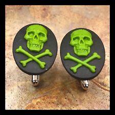 New Cufflinks Green Black Skull 💀 Crossbones Modern Resin Cameo Silvertone I29
