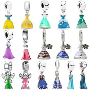 Princess Dress Silver European Charm Pendant DIY Bracelet Necklace Free Gift Bag