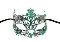 Maschera Pizzo Di Metallo Di Venezia Verde Lucido Travestimento Veneziano 713