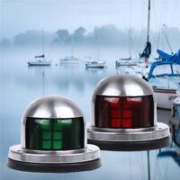 Pair 12V LED Bow Navigation Light Red Stainless Marine Boat Kayaks Yacht .FN
