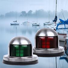 1 Pair 12V LED Bow Navigation Light Red Green Stainless Steel Marine Boat