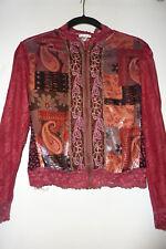 Jaipur Womens Multi Color Embellished Jacket top, Zipper, Lace, Sz S