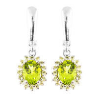GUARANTEE NATURAL 8X6MM PERIDOT VERY RARE GEMSTONE STERLING SILVER 925 EARRING