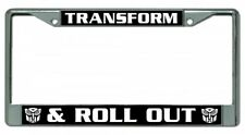 TRANSFORM AND ROLL OUT Transformers Metal Chrome License Plate Frame