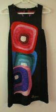 Desigual Women's Dress knee length geometric colorful black dress S