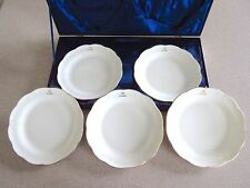 5 Piece Scalloped Edge White China Dessert Plate by Japanese Designer Jun Ashida