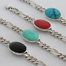 Salman 925 Solid Sterling Silver Link Men Bracelet Coral Turquoise Black Stone 8