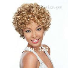 Capless Schöner Mix Farbe Kurz Blonde Lockige Perücken Afro-Mode Damen-Perücke