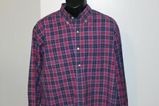 Austin Reed London Men's Long Sleeve Red Blue Plaid Shirt XL 80s 2-Ply Cotton
