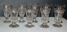Antique Wine Glass Lot 9 Pieces Engraved