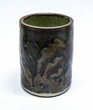 Toyoharu Ichino Studio Pottery Tenmoku Glaze Vase or Brush Pot - Japanese (C3)