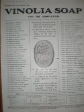 Vinolia Soap list of what is not in it 1906 UK advert