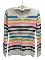 POOF Made With Love Multi-Color Rainbow Bright Neon Stripe Knit Sweater New NWT