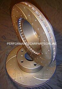 DRILLED SLOTTED Ford EXPLORER UT UX UZ V6 & V8 2001-2005 FRONT Disc Brake Rotors
