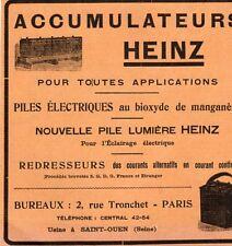 HEINZ PILE ELECTRIQUE ACCUMULATEUR  PARIS PUBLICITE 1914 FRENCH AD