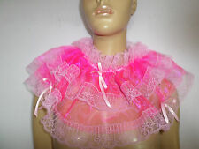 ADULT BABY  DEEP PINK  ORGANZA   SISSY  COLLAR  FRILLY LACE TRIM SATIN  BOWS